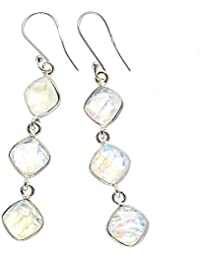"Rainbow Moonstone Earrings 2 1/4"" (925 Sterling Silver) - Handmade Boho Vintage Jewelry EARR383445"