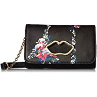 Betsey Johnson Womens Lip Cut Out Crossbody