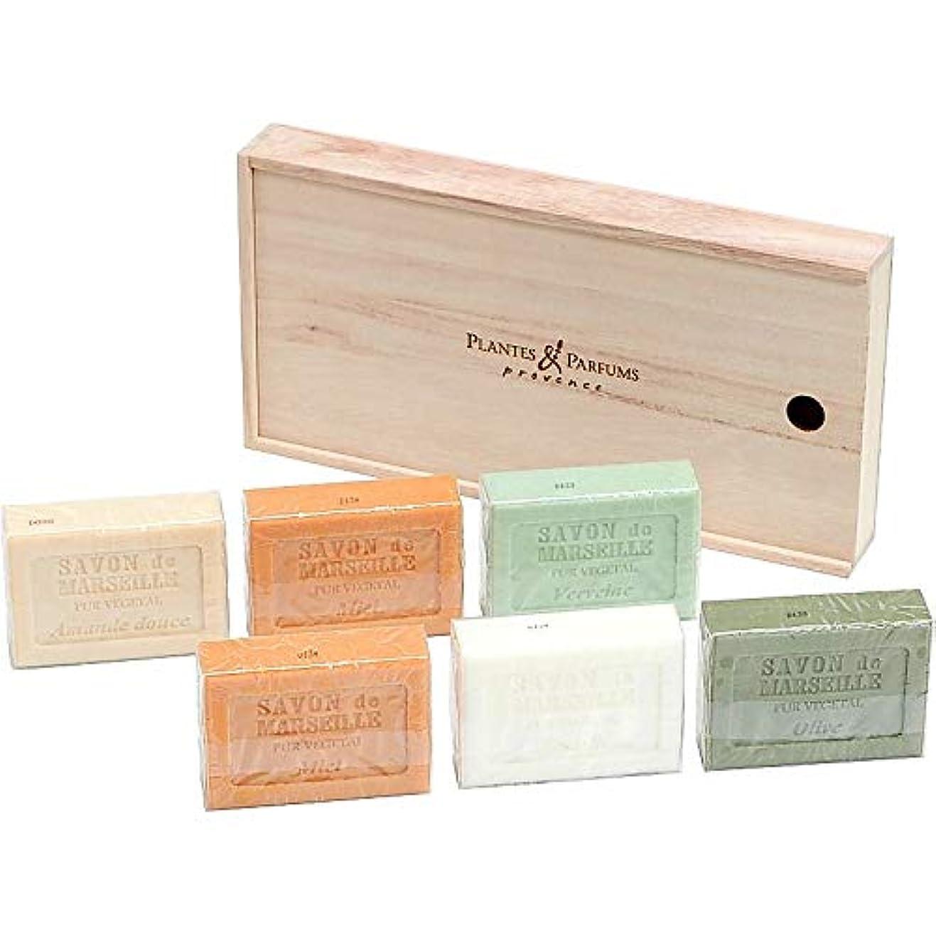 手つかずの促進する対立(プランツ&パルファム/Plantes & Parfums) マルセイユソープ6個セット (桐箱入り) (676-0375r)
