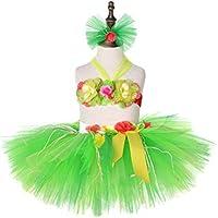 Amosfun Hawaii Tutu Skirt Hula Luau Skirt Set for Girls Birthday Beach Party