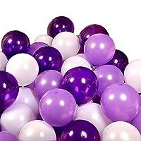 FUPUONE バルーン 誕生日やパーティー向け風船100個入り 空気入れ含む5点セット (紫/ラベンダー/ホワイト)