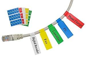 Mr-Label(10枚、300ラベル)屋外でも使える セルフラミネート ケーブル表示ラベル - 無料の作成ソフト付き (5組合せ色)