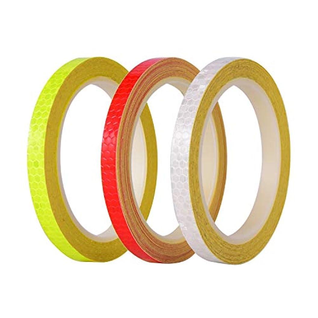 そこから減らす飾り羽USB充電式自転車ライト 反射テープマイクロプリズムシーティング安全反射テープ、総自転車ライトで26ヤード (色 : 3PCS)