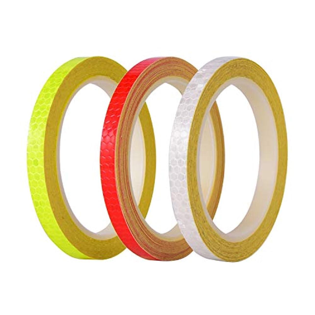 小数有毒な鋼充電式自転車ライト 反射テープマイクロプリズムシーティング安全反射テープ、総自転車ライトで26ヤード (色 : 3PCS)