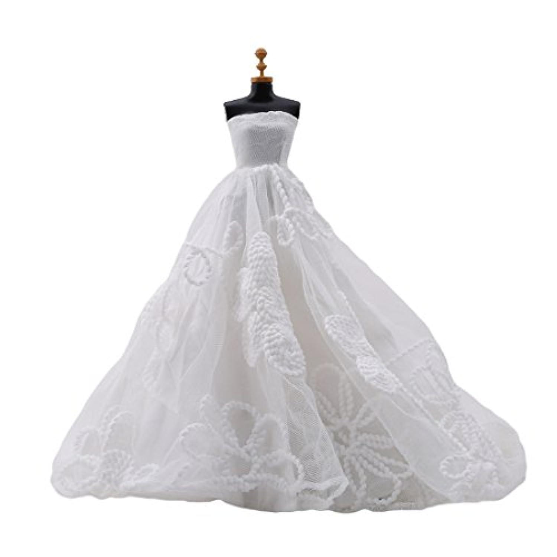 KLUMA ウェディングドレス 人形用 ドール用 かわいい 洋服 白い 豪華 ロング アクセサリー