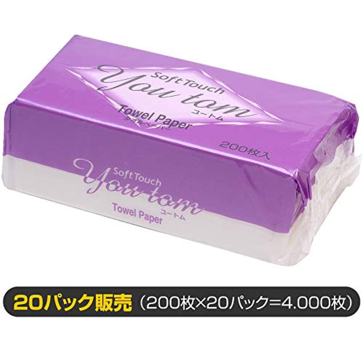 娘モデレータレバーペーパータオル ユートム/20パック販売(清潔キレイ館/レギュラーサイズ用)