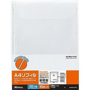 コクヨ ファイル クリアファイル替紙 封筒型 10枚入り A4-S ラ-A35