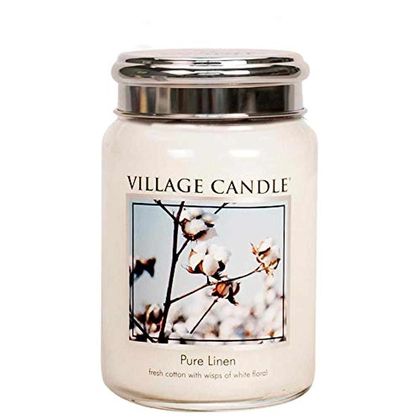アジャ外出イースターVillage Candle Large Fragranced Candle Jar - 17cm x 10cm - 26oz (1219g)- Pure Linen - upto 170 hours burn time...