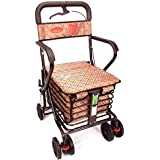 Shopping Cart Trolley, Old People armrests Trolley Basket 360° Rotation 4 Wheels fold Wheelchair
