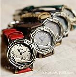 レディース 古典的 猫 革バンド腕時計
