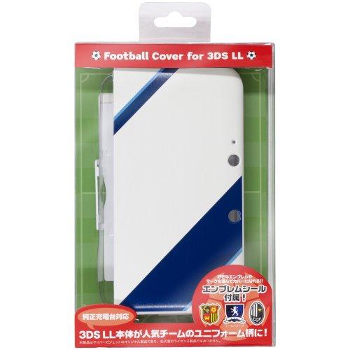 CYBER ・ フットボールカバー ( 3DS LL 用) ホワイト×ブルー 【専用充電台 併用可能】