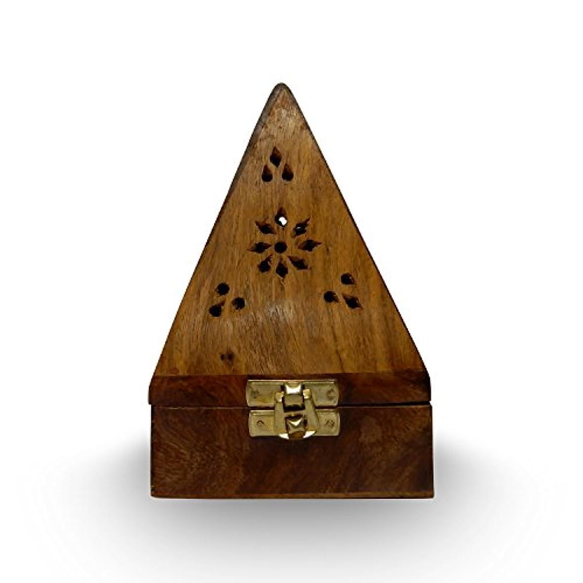 夜間コテージ早く木製クラシックピラミッドスタイルBurner ( Dhoopホルダー) with Base正方形とトップ円錐形状、木製香炉ボックス