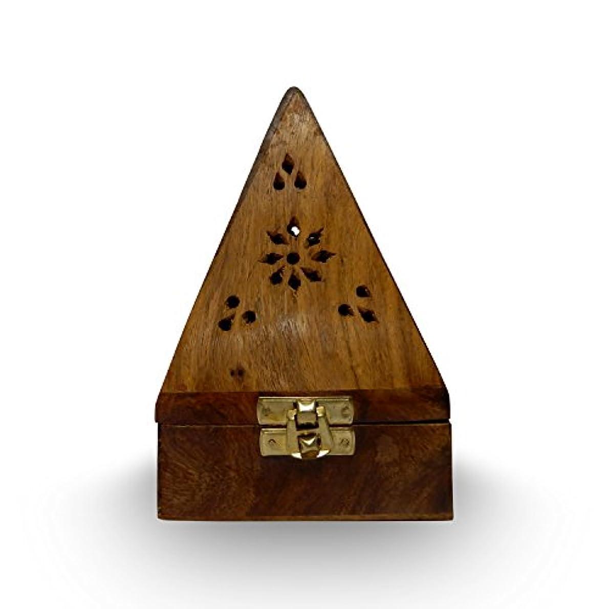 流ポルトガル語胚木製クラシックピラミッドスタイルBurner ( Dhoopホルダー) with Base正方形とトップ円錐形状、木製香炉ボックス
