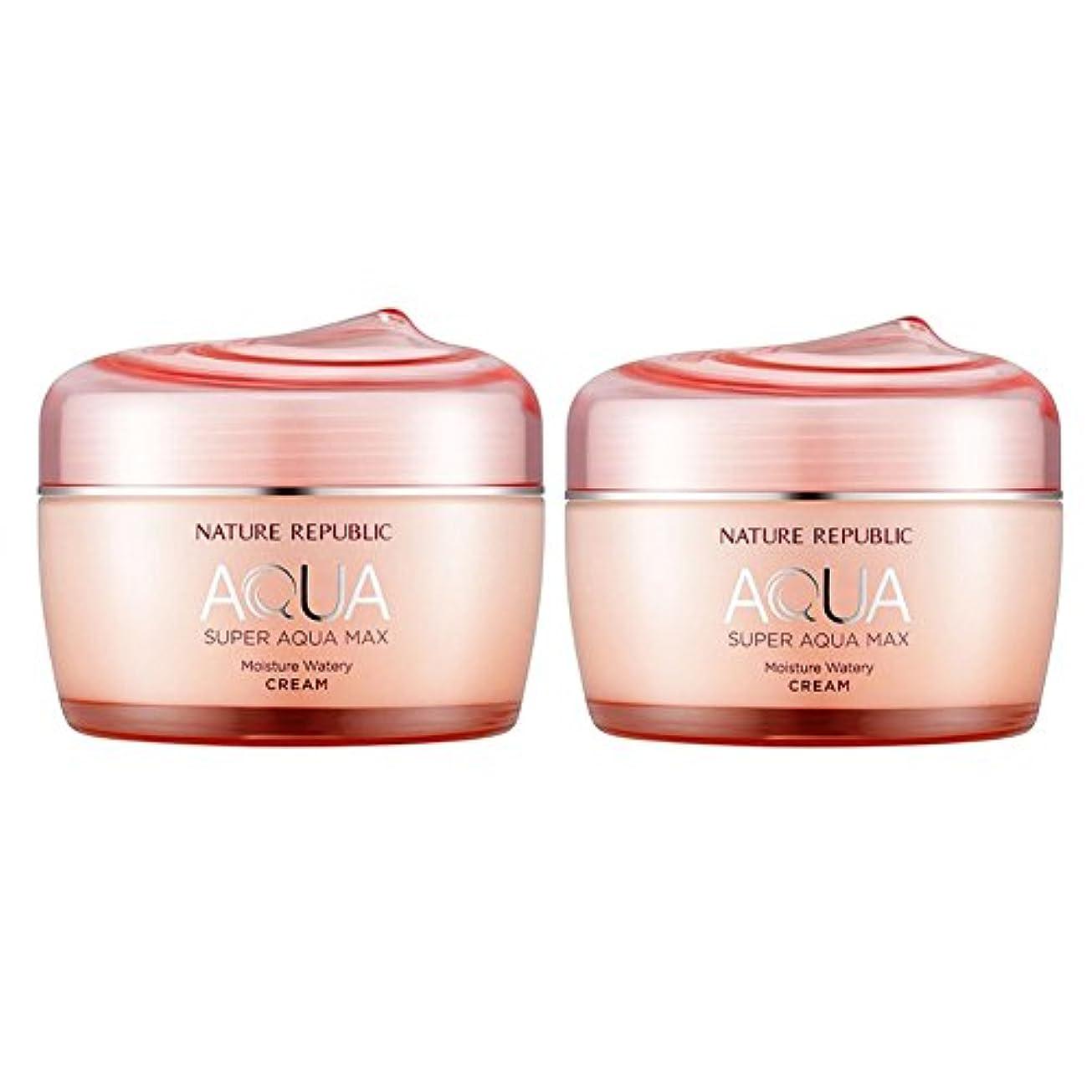 コーンウォール余暇無心ネイチャーリパブリックスーパーアクア?マックスモイスチャー水分クリーム乾性用肌80ml x 2本セット、韓国化粧品 Nature Republic Super Aqua Max Moisture Cream Dry Skin...