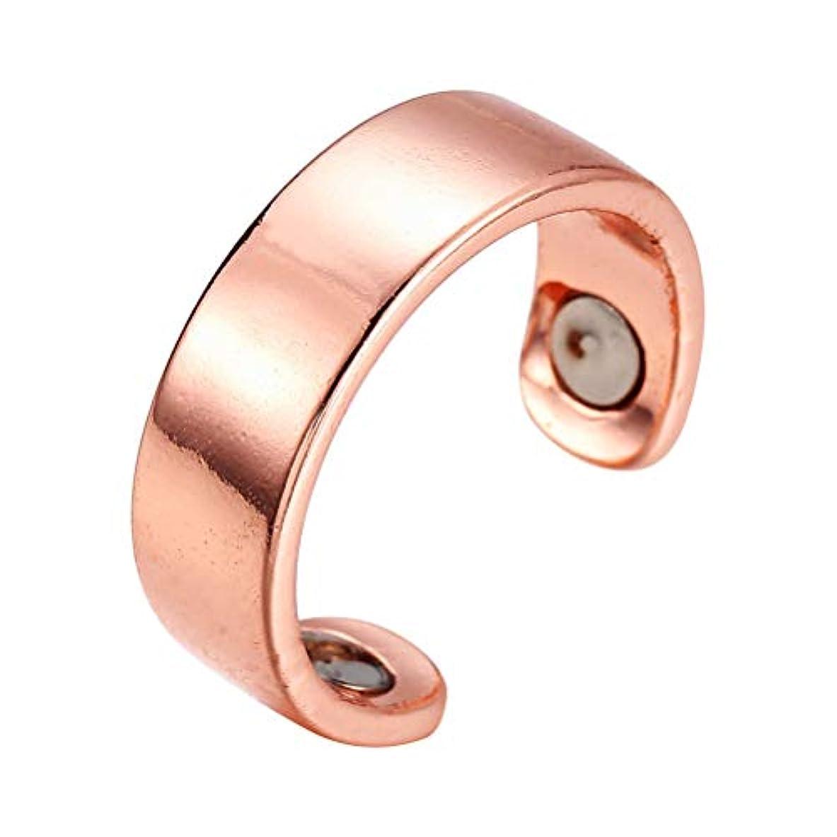 バーターバッチ長方形SUPVOX リング 指輪 磁気リング 調節可能 オープンリング 睡眠呼吸指圧治療停止いびきデバイスヘルスケア磁気療法(ローズゴールデン)