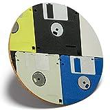 ×1つのフロッピーディスクパターン - ラウンドコースターキッチン学生キッズギフト#16697