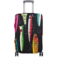 Mydaily Pop Colorful Fishing Lures Luggage Cover Fits 18-32 Inch Suitcase Spandex Travel Protector