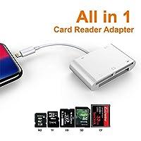ETbotu カードリーダー 6 in 1 SD TF SDHC CF XD M2 カードリーダー 充電アダプター iPhone Xs MAX XR X 5S 6 7 8 Plus用