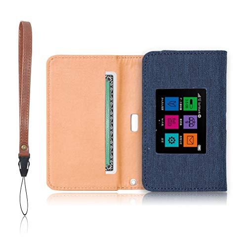 Pocket WiFi 603HW 専用 モバイルルーター ケース 保護フィルム 付 (ネイビー)