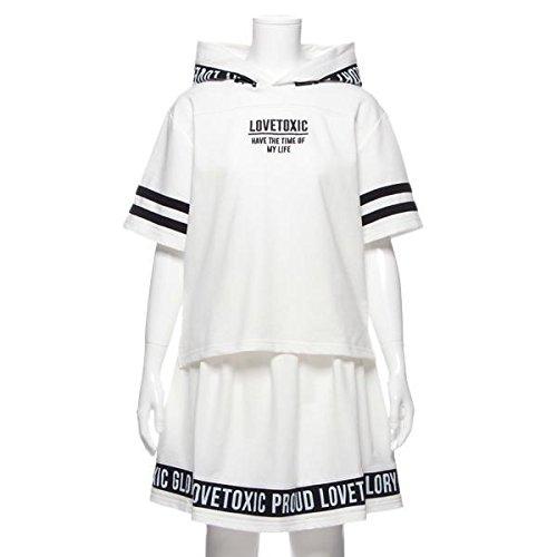 フードつき裏毛Tシャツ&スカートセットアップ オフ ホワイト L(160)