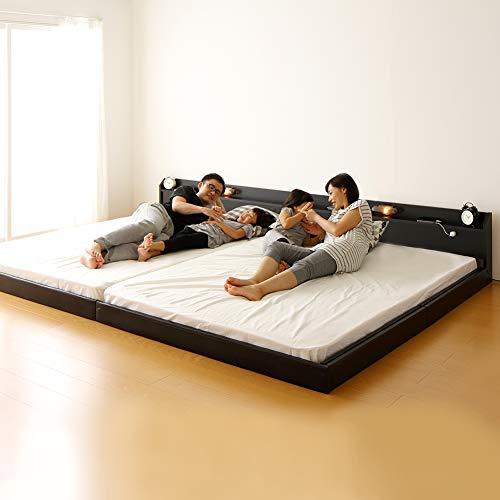日本製 連結ベッド 照明付き フロアベッド ワイドキングサイズ200cm