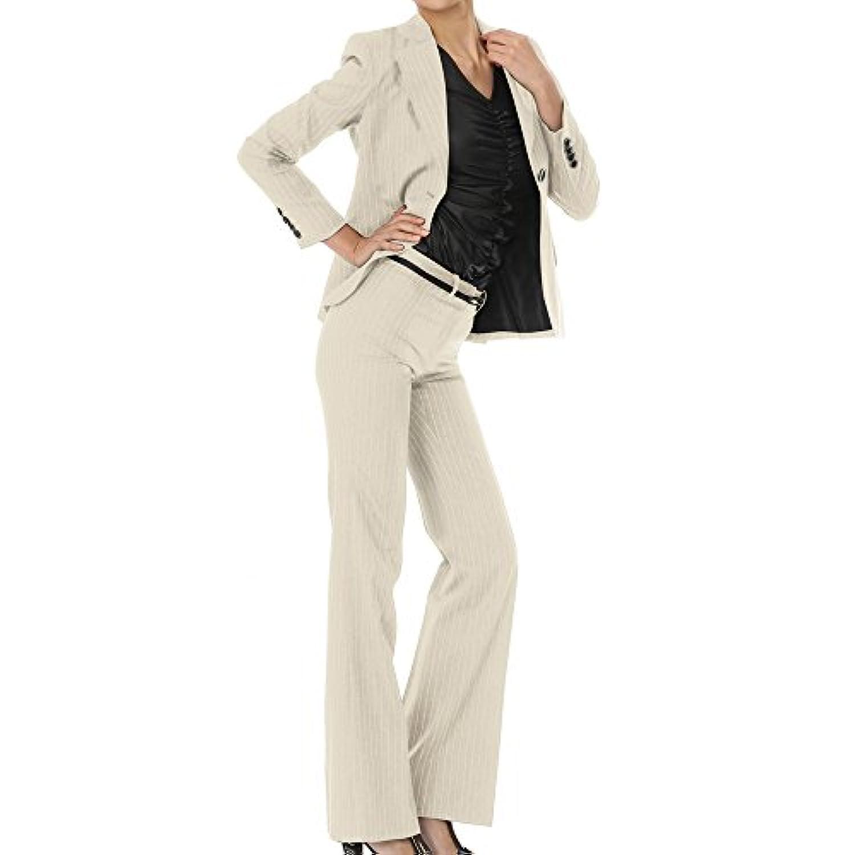パンツスーツ リクルートスーツ レディススーツ ベージュストライプ 就活 17号 上下別サイズ対応スーツ