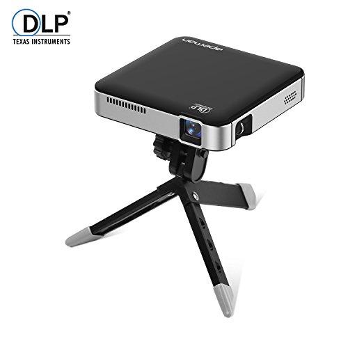 APEMAN DLP プロジェクター LED小型ミニ ポケット ホームシアター フル HD 1080p入力対応 3400mAh バッテリー内蔵 2時間の投影時間 モバイルバッテリー HDMI MHL対応 三脚付き