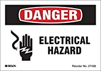 Brady 27408LS Electrical Safety Labels Engineering Grade Reflective Sheeting 3.5 x 5 Black/Red On White (Pack of 8) [並行輸入品]