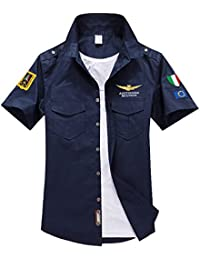 (NAIL39) カジュアルシャツ メンズ ゴルフウエア 半袖 シャツ Tシャツ ストリート ワッペン アーミー エンブレム 襟付き 普段着 ポケット 夏 重ね着 アウトドア 釣り フィッシング