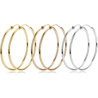 Finrezio 3 Pairs Stainless Steel Hoop Earrings for Women Girls Big Simple Earrings Silver/Gold/ Rose Gold Tone for 40mm