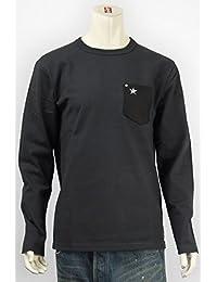 (ショット) Schott 長袖 鹿革 ポケットTシャツ ワンスタースタッズ ブラック 3143092-08