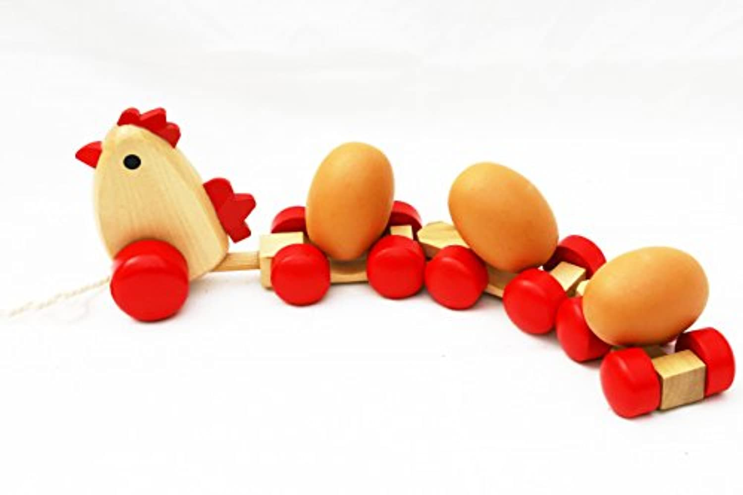 Wooden Pull Along Chicken with 3 Eggs