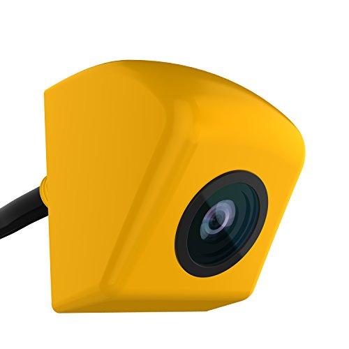 GOGO ROADLESS バックカメラ リアカメラ 12V IP68の防水レベル ネジでナンバープレート取付車載カメラ 黄色