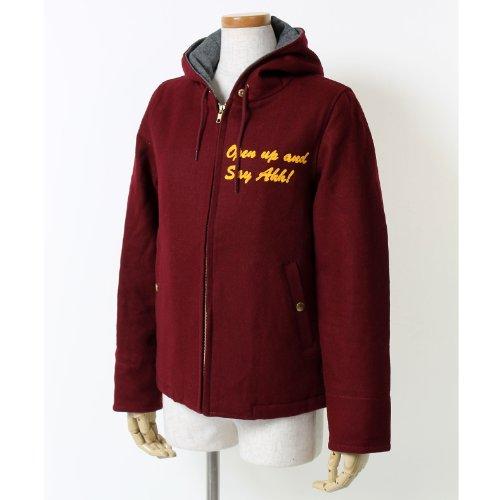 フードデザインジャケット サガラワッペンモチーフ バッグプリント 刺繍入り ワイン 20140128rf ローリーズファーム