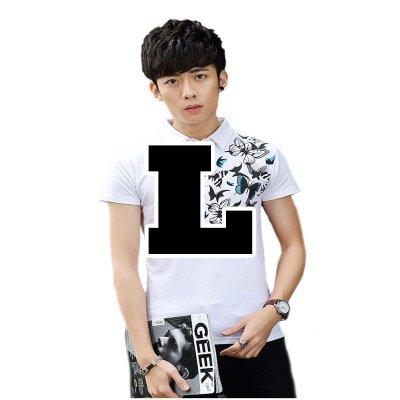 ( Make 2 Be ) メンズ 蝶柄 乱舞 ポロシャツ 和柄 半袖 カジュアル シャツ ゴルフ ウェア バタフライ MF47 (11.White_L)