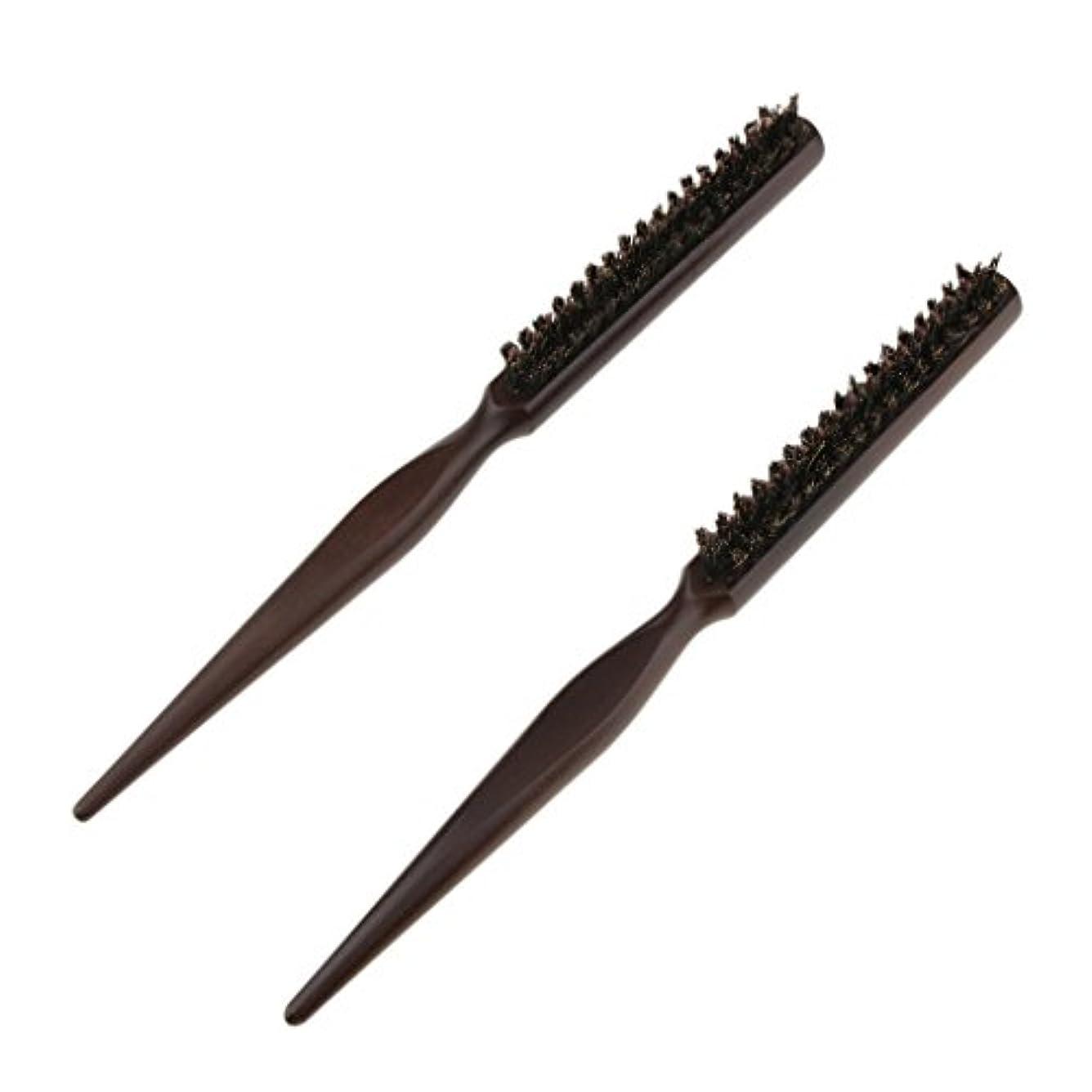 モック極地力強い2本 木製櫛 ヘアブラシ ナイロン毛+木製ハンドル プロ ヘアスタイル