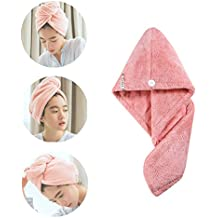 AINAAN 2019 Microfiber Hair Towel Wrap for Women,Super Absorbent Quick Turban,Double Thickening Fast Drying Hat, 2019, Rose Red