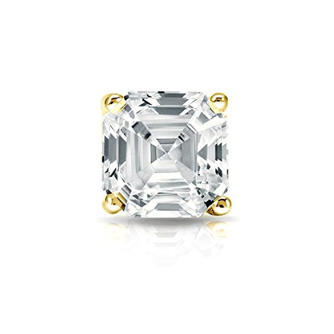 メイド光おとこ18 Kイエローゴールド4プロングMartini Asscherダイヤモンドメンズシングルスタッドイヤリング( 1 / 4 – 1 CT、Oホワイト、i1 - i2 ) push-back