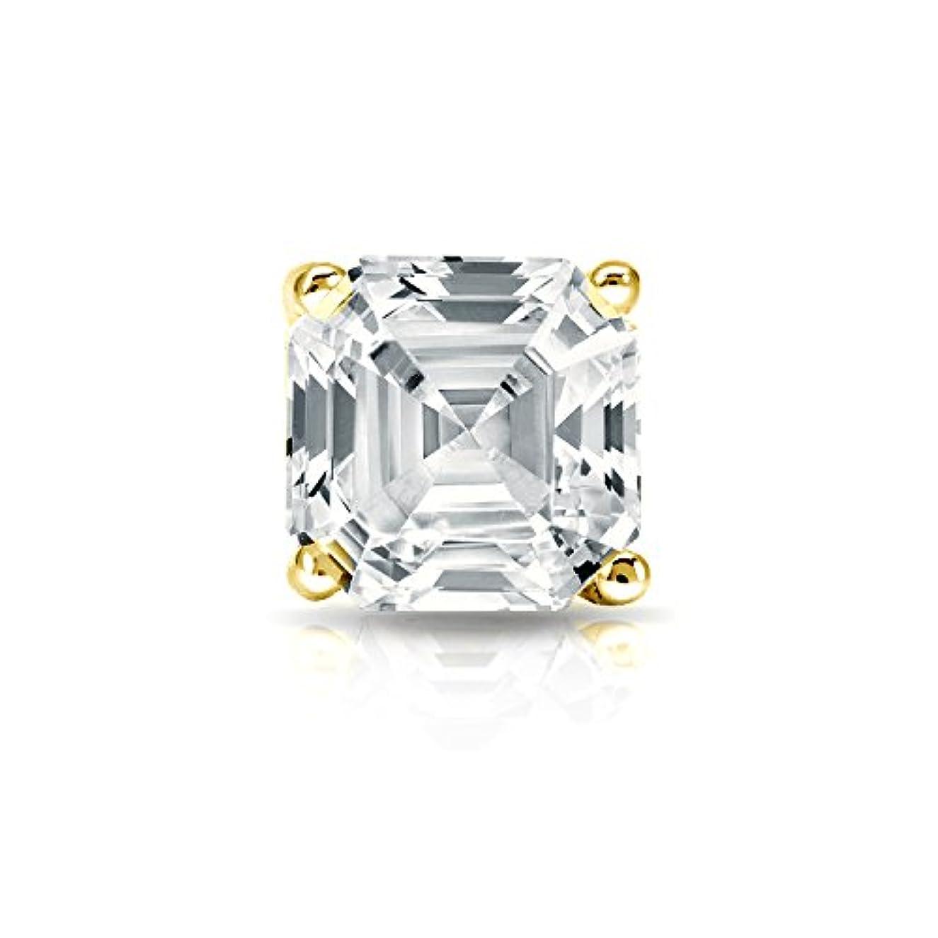 ハイジャック蒸発するタービン18 Kイエローゴールド4プロングMartini Asscherダイヤモンドメンズシングルスタッドイヤリング( 1 / 4 – 1 CT、ホワイト、si1-si2 ) screw-back