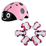 kufun 子供用 ヘルメット 自転車 インラインスケート スケートボード 調整可能 てんとう虫 サイクリング ヘルメット こども 超軽量 高剛性 ローラースケート スクーター 幼児 (桜色スーツ1, M)