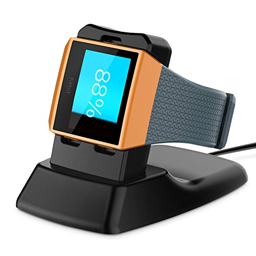 MYRIANN Fitbit Ionic スマートウォッチ専用充電スタンド 磁気充電 ワイヤレス充電自動制御装置 USBケー ブル付きクレードル( ブラック)