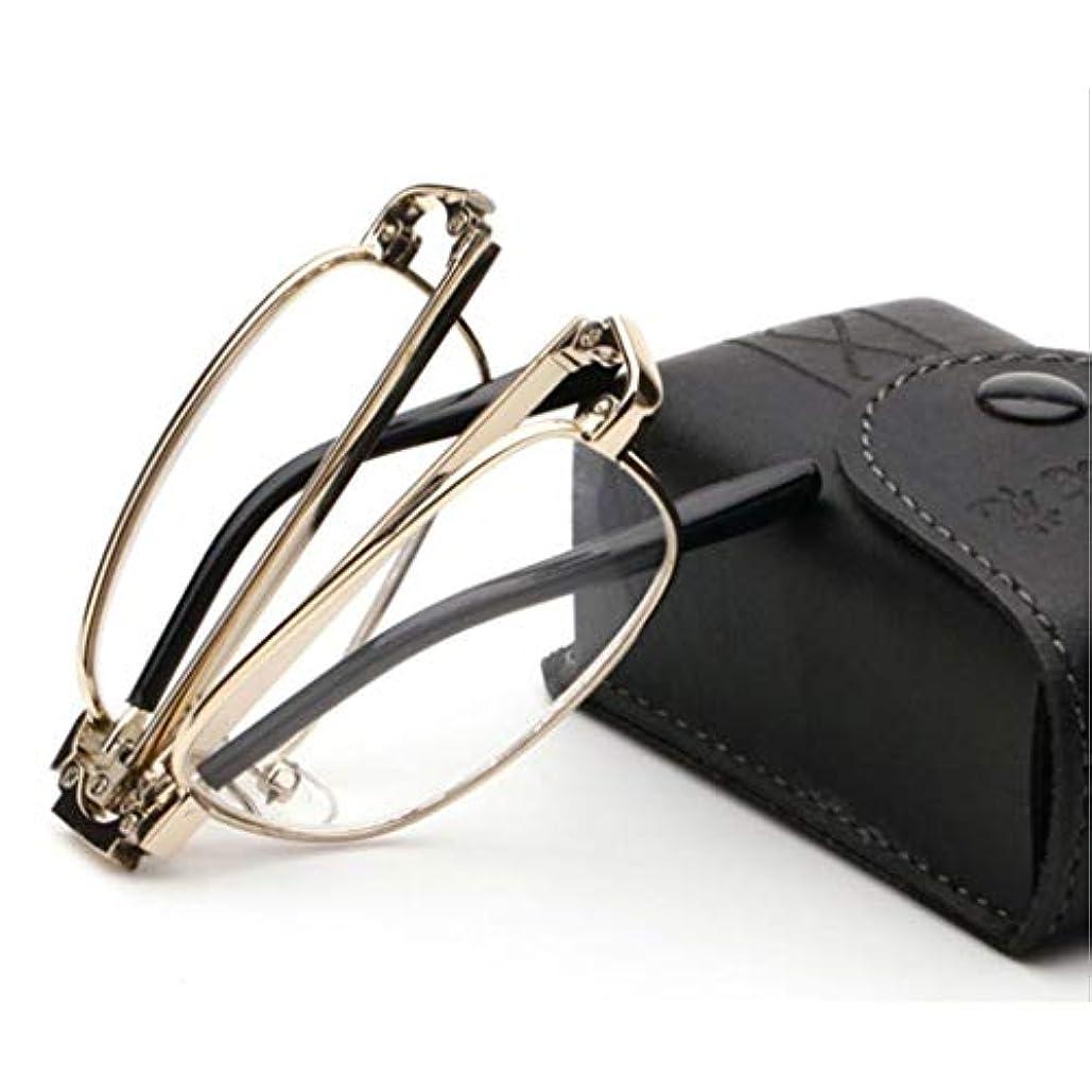 バーター口ひげピンポイント高齢者用の折りたたみ式リーダー、コンパクト老眼鏡。超軽量HDレンズ、メタルフレーム、シリコンノーズパッド、スプリングヒンジ付き折りたたみアーム(ゴールド)