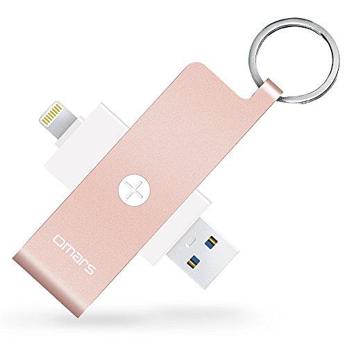 Omars Apple認証 (MFI取得) Lightningカード リーダー USB メモリiPhone iPad iPod touchの容量不足解消 (lightning カードリーダー, ローズゴールド)