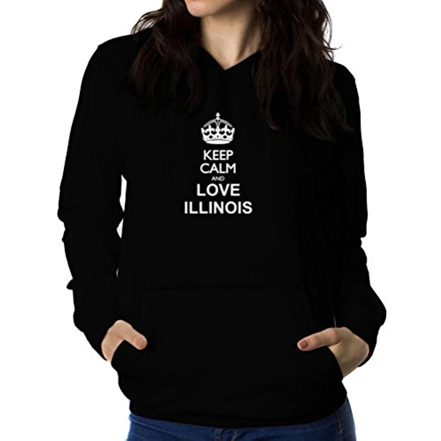 ライバル記念気体のKeep calm and love Illinois 女性 フーディー