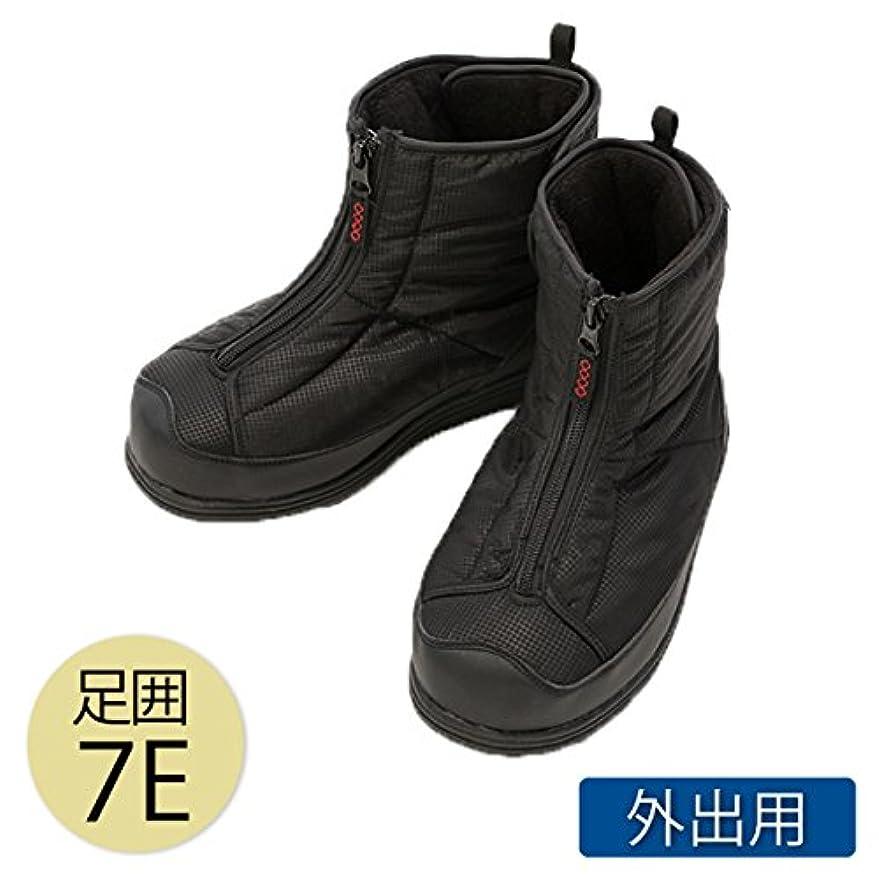 見通し靴下介護シューズ ブーツ 介護靴 外出用 あゆみ シニア 防寒ワイドブーツ 7E 黒 5020