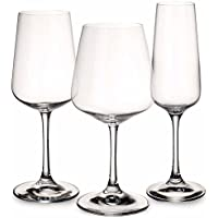 Ovid Wine Glass Box Set of 12 by Villeroy & Boch - Dishwasher Safe - Made in Germany - Clear 100% Lead-Free Crystal Glass - 3 Shapes and Sizes - Perfect for Red Wine, White Wine, Champagne