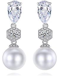 Rakumi Pearl Dangle Earrings White Seashell Pearl Dangle Earrings with Crystals