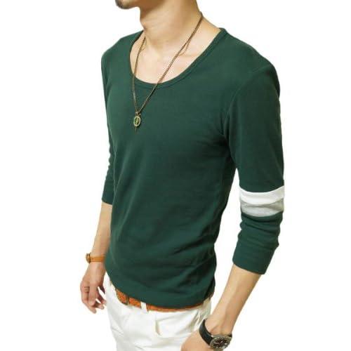 (ジーアールエヌ) grn Tシャツ メンズ アームライン クルーネック 7分袖 フライス カットソー グリーン:1(S)