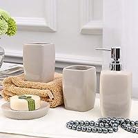浴室用品セット 多機能 コンテンポラリー セラミック 4本 - 浴室,ホワイト