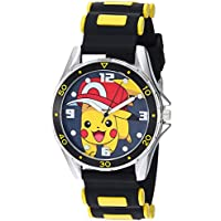 Pokemon Silver Tone Metal Analog-Quartz Watch with Rubber Strap, Black, 20.7 (Model: POK9010)